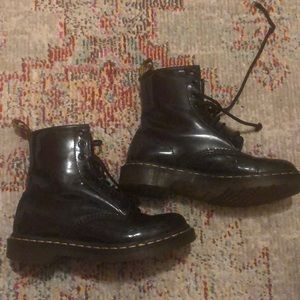 Dr Marten worn patten leather boots